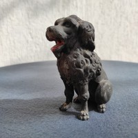 Poodle, poodle dog sculpture in metal alloy, tin spyator. Viennese in nature