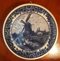Delft porcelain wall plate, marked, numbered
