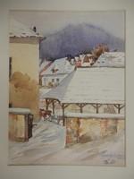 GUARD. Signed: winter cityscape, watercolor