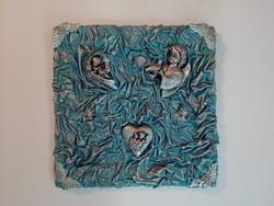 Modern kézműves angyalkás falidísz, falikép