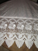 Pair of beautiful vintage style wide lacy satin stained glass curtains