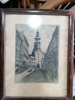 Bratislava street detail etching