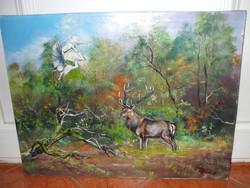 Wild scene oil painting - forest king - priest elf