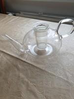 Üveg, hőálló teás kancsó szűrővel eladó!