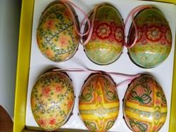 A set of 6 handpainted christmas eggs