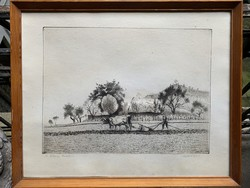 Etching collectors attention !! Dudás jenő etching from 1 ft