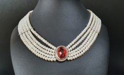 5 Row pearl necklace with red stone