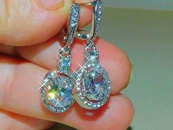 Mest. Gyémánt köves Fehér Arany Gold Filled Fülbevaló- Díszes kapoccsal