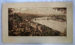 Budapesti panorámát ábrázoló rézkarc