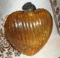 Fémszerelékes üveg szív karácsonyfa dísz