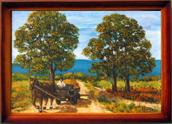 LOVASKOCSI POROS ÚTON - tájkép (17,5x13 cm)