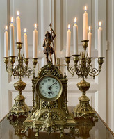 From one forint - antique, copper, French fireplace clock with candlesticks
