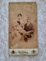 Antique female man photo 1894 strelisky lipot budapest old studio photo