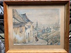 Schindler Valér - Tabán 1920 akvarell 1 Ft-ról