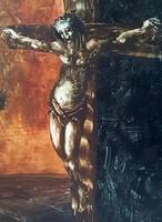András Győrfi - corpus 80 x 50 cm oil, wood fiber 1995