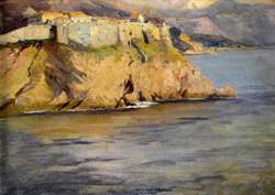 Jenő Kárpáthy (1870 - 1950) seaside view with a fortress !!!