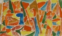 Miklós Cs. Németh 17.5 X 30 cm crayon, tempera, paper