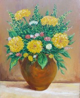 Bouquet of flowers in a jar - still life (24.9x31.5 cm)