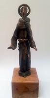 Miklós Borsos - Saint Francis of Assisi 16 cm bronze sculpture