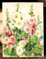 L. Wojna: garden flowers - large watercolor