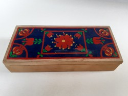Old folk motif painted wooden box with floral box