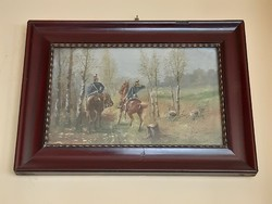 Horse hussars oil painting around 1920