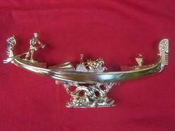 Ornamental gondola - gilded length 20 cm, height 9 cm on dolphin pedestal gilded gondola gon
