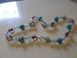 52 Cm old necklace made of Murano glass beads and faceted crystals.