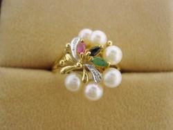 Diamond-ruby-sapphire-emerald gold ring