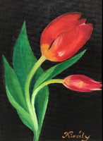 Red tulips - oil painting