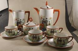 Karlsbadi porcelán teás készlet kínai jelenetes 566