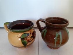 Old folk glazed ceramic jug vintage small jar 2 pcs