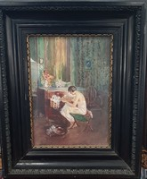 Burghardt (1884-1963): reading woman in the salon