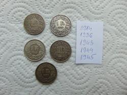 Svájc 5 darab ezüst 1 frank LOT !