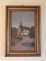 Ledniczky i. Village street view after storm with church oil painting circa 1920