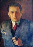 Béla Onódi (1900 - 1991) self-portrait with a pipe