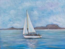 Sailboat with a badger - landscape (48x36 cm)