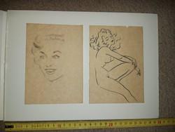 Finom tus-, és grafitrajzok a '60-as évekből, selyempapírra, méret jelezve!