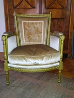4 pcs Biedermeier lounge armchair, gilded and upholstered in gold velvet