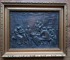 Bronze mural, framed
