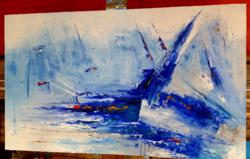 Krisztian Szalai: the bay of Füred. 90X150cm oil / canvas.