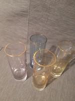 Szép színes aranyszélű poharak 4 db