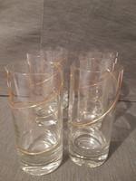 Gyönyörű aranyozott pohárszett fúvott üveg hibátlan 6 db