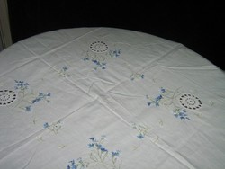 Beautiful blue embroidered tablecloth with crochet insert