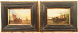 Bommel, van Elias Pieter (1819 — 1890) Halászok c. antik festményei PÁRBAN ! EREDETI GARANCIÁVAL !