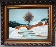 C.Carguel: snowy landscape with stone bridge 1928