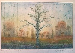 Gross Arnold - Garden of Memories i. 20 X 31 cm colored etching