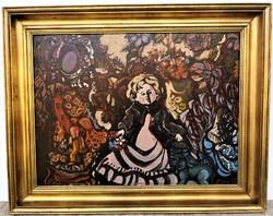 Cora Erzsébet (1927 - ) Csendélet Babával c. Képcsarnokos olajfestménye EREDETI GARANCIÁVAL !
