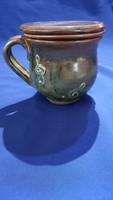 Ceramic mug with filter lid treble clef decor tile city