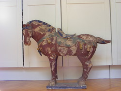 Carved painted wooden horse